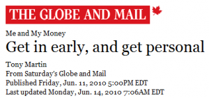 Image of Globe and Mail Logo and article headline